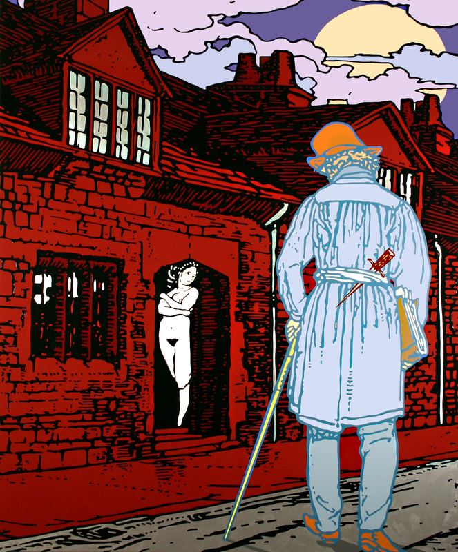 Gabriele Arruzzo, The artist on the way to work (for Walter Sickert a.k.a. Jack the Ripper), 2008 ​enamel and acrylic on canvas, 180x150cm